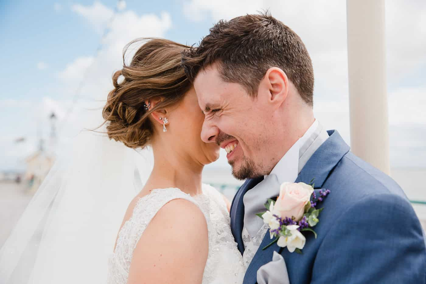 Penarth Wedding Photography - couple laughing