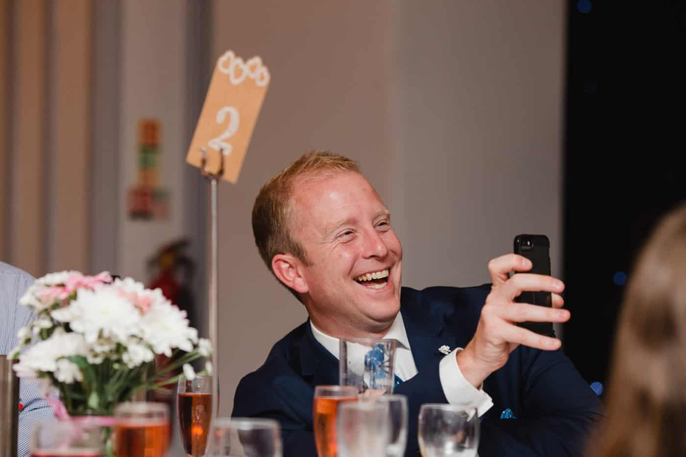 Maes Manor Wedding guest - laughing