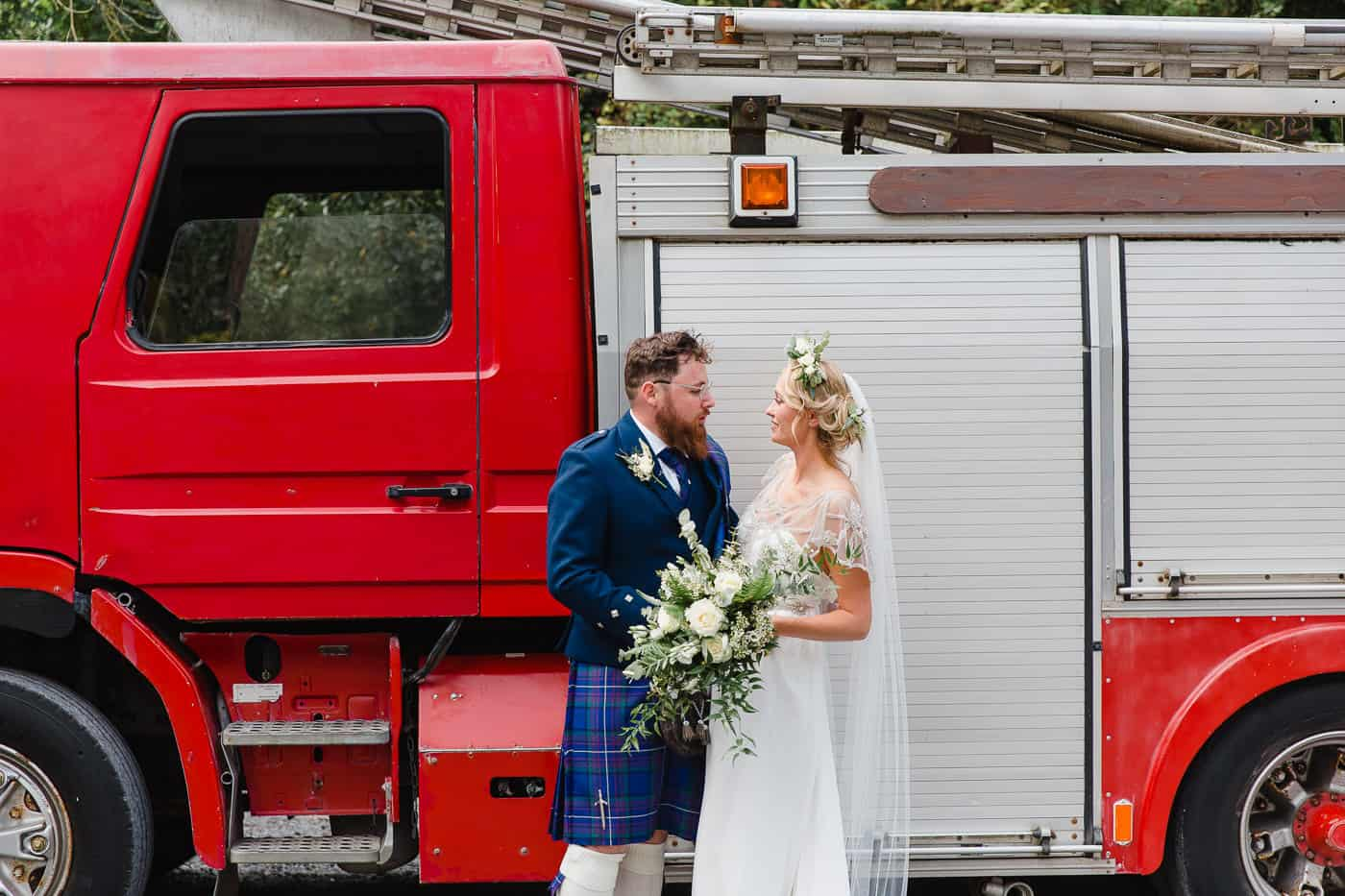 Bride and Groom with fire engine