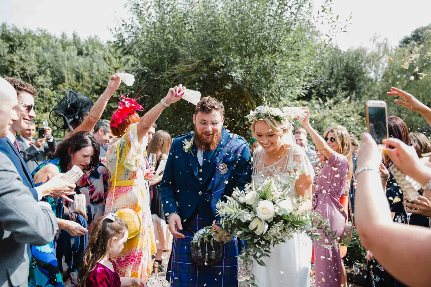 Bride and Groom Confetti run