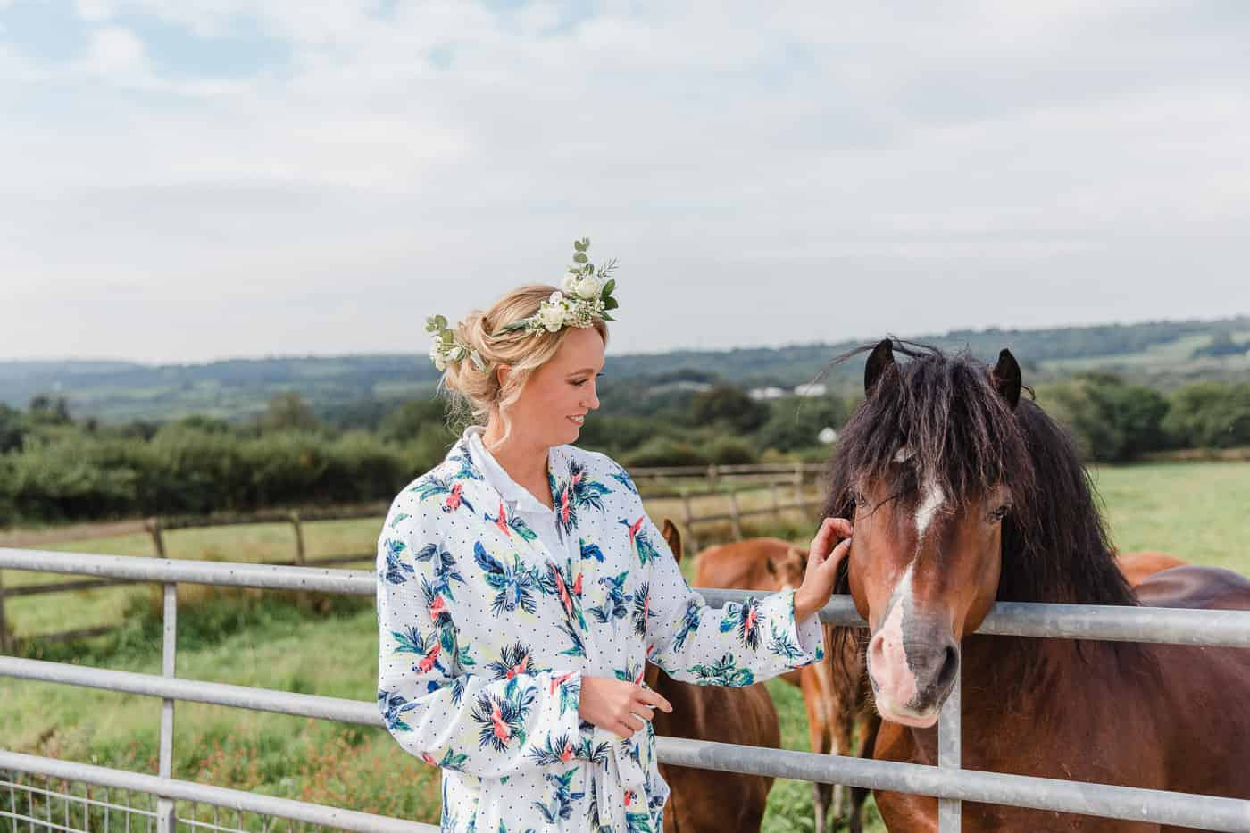 Bride to be and horse