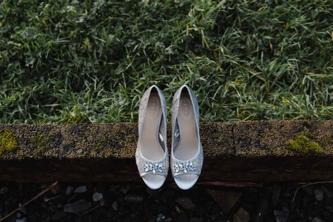 wedding shoes on grass