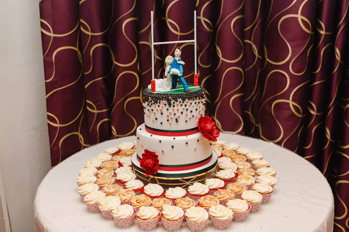 rugby wedding cake