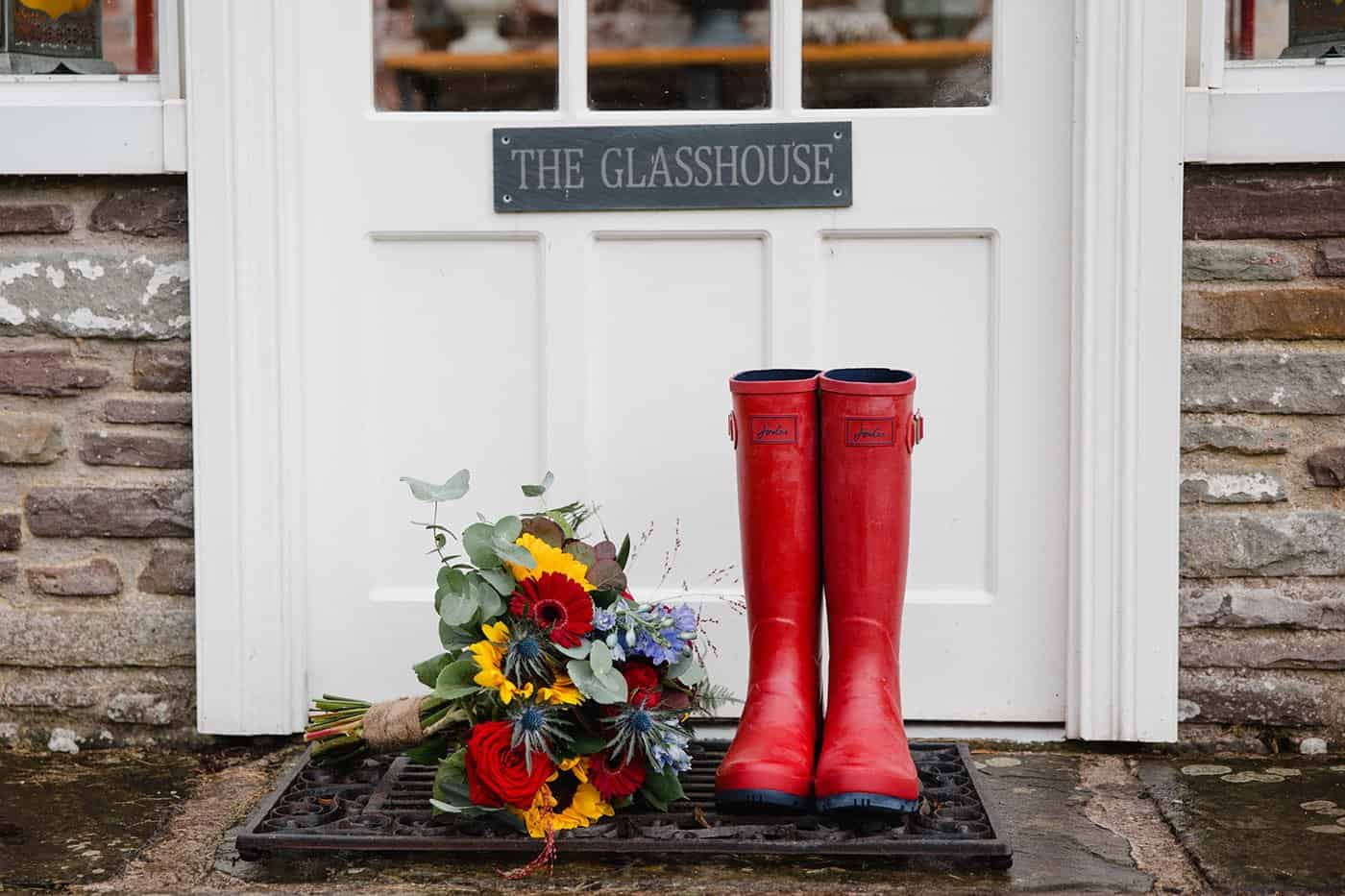 Joules wellies and bridal bouquet