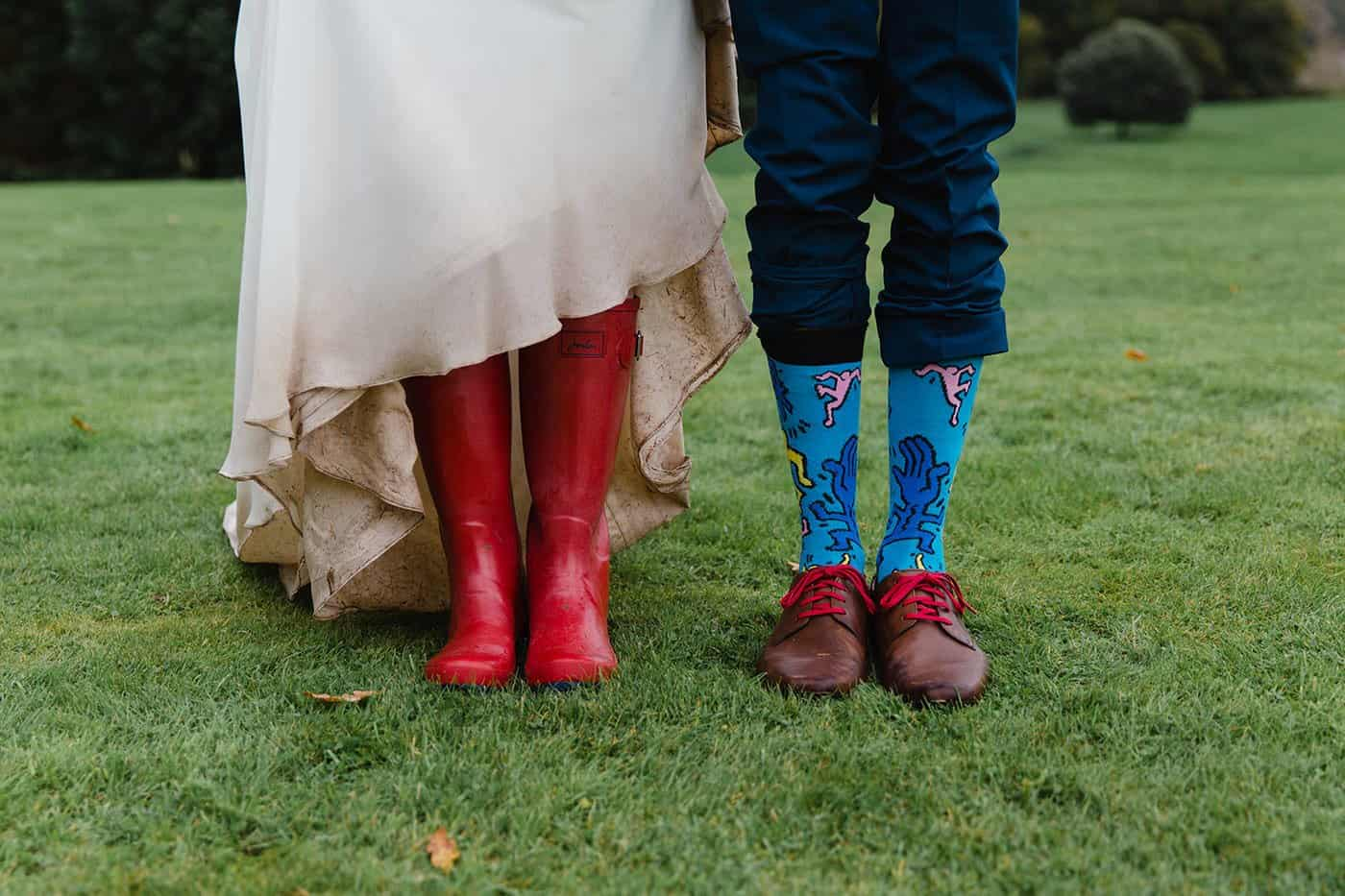 bride wellies and grooms shoes