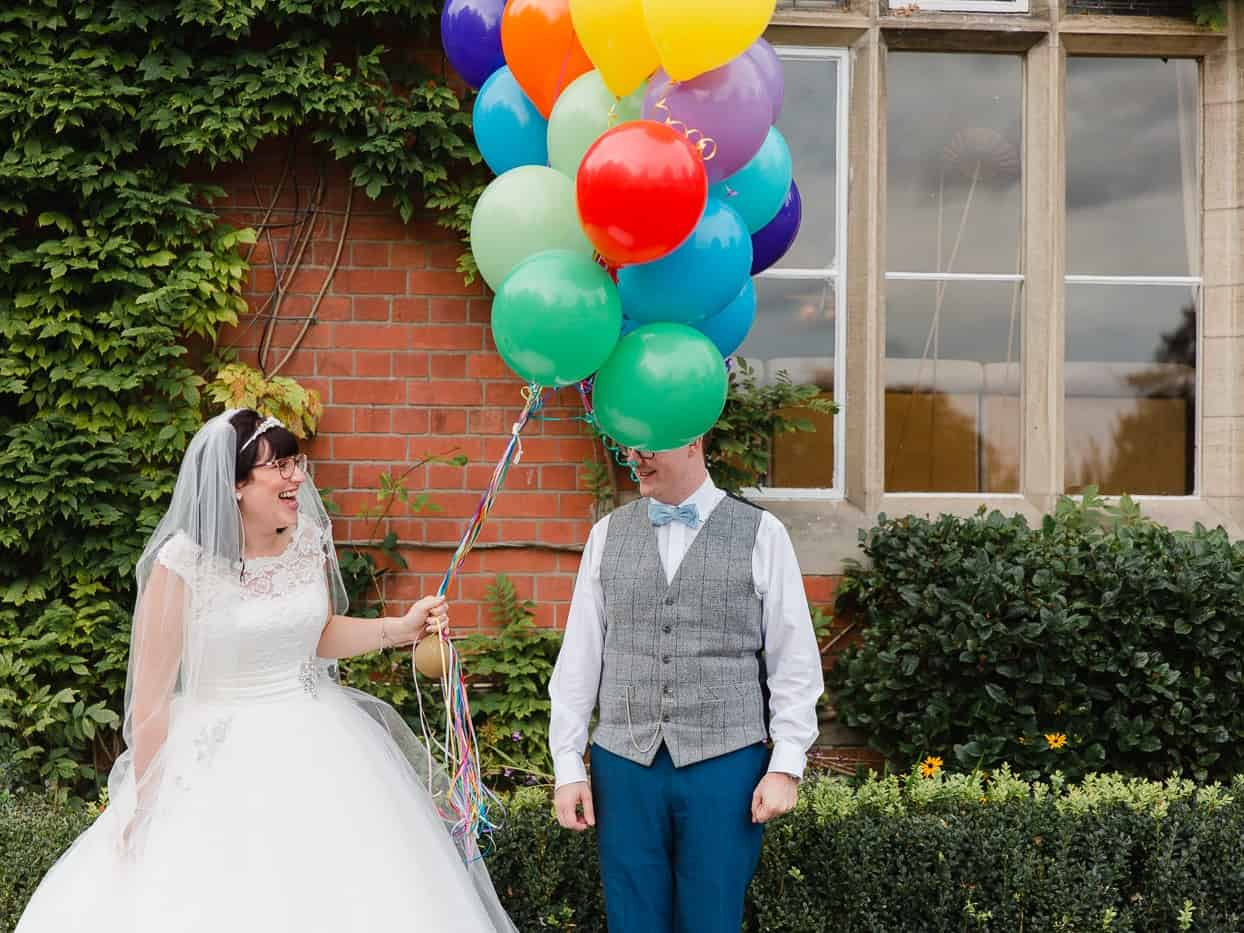 bride and groom balloons coed y mwstwr wedding