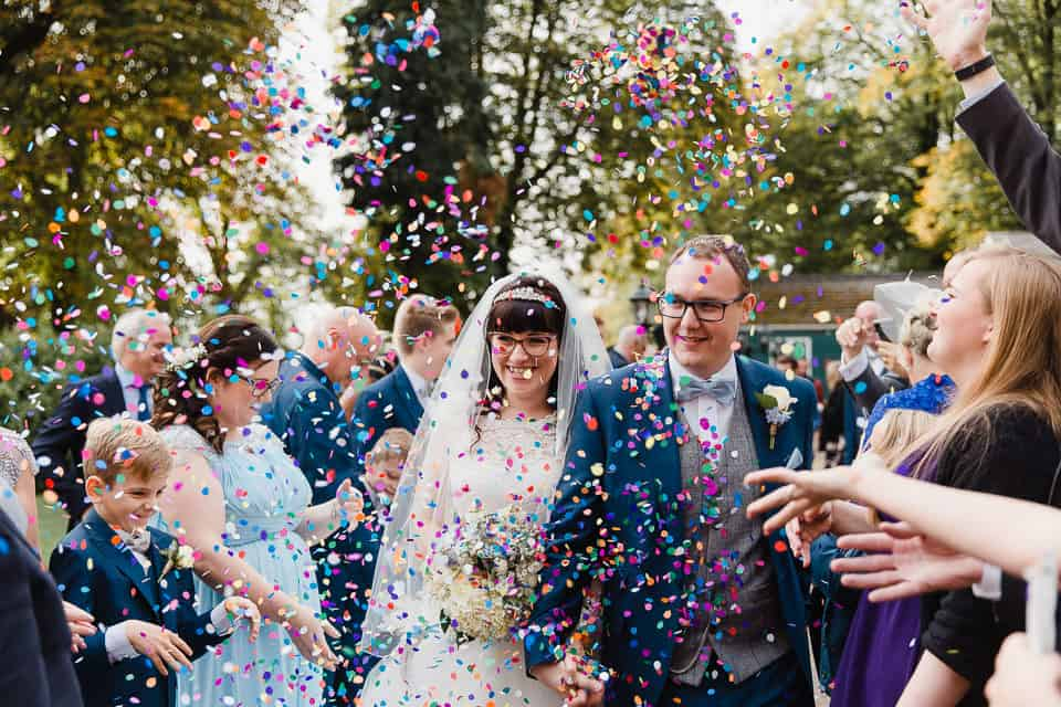 colourful confetti wedding photography
