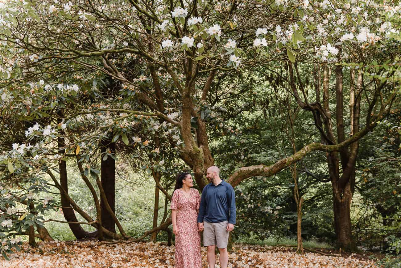 couple under blossom tree holding hands