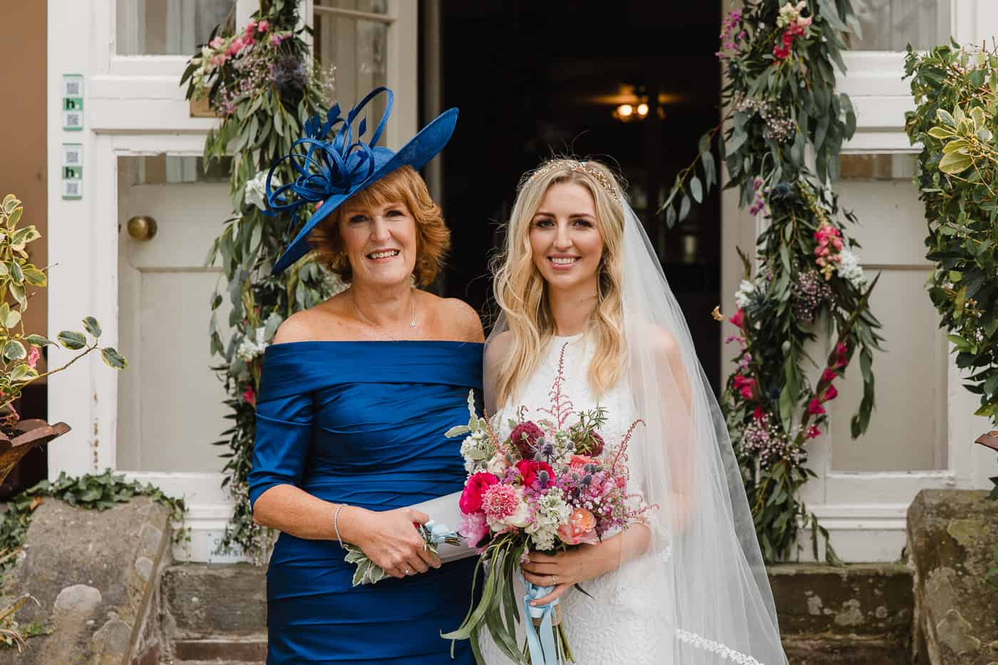bride and mother portrait at porthmawr house