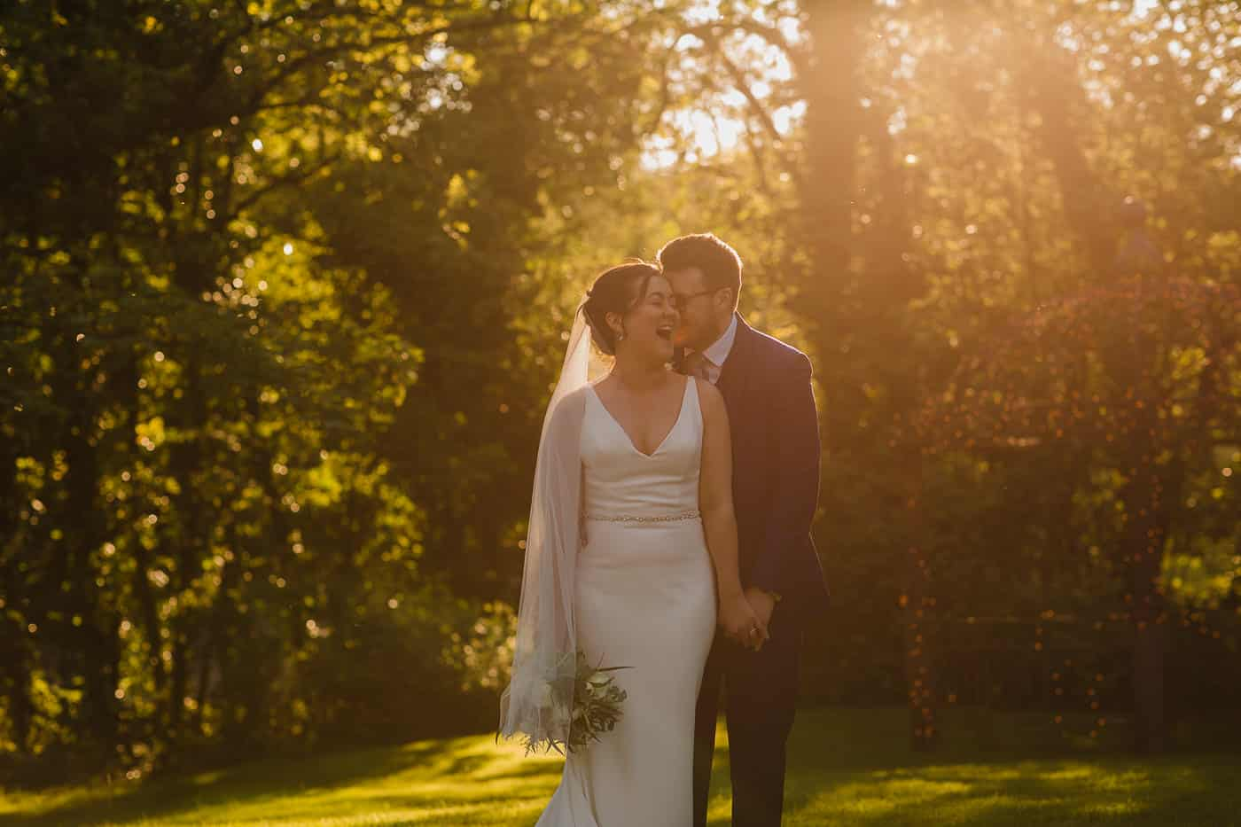 golden hour bride and groom natural portrait at de courceys manor