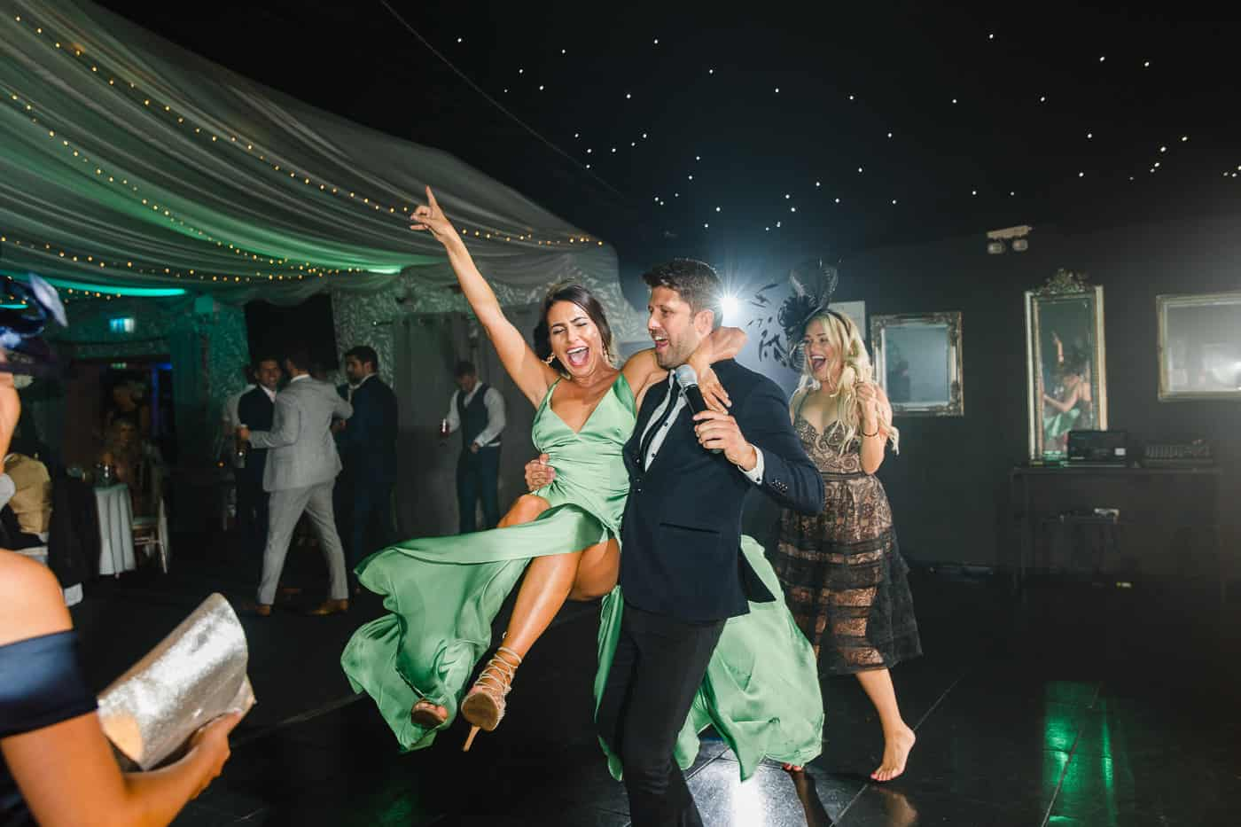 fun wedding photography guest dancing at oldwalls