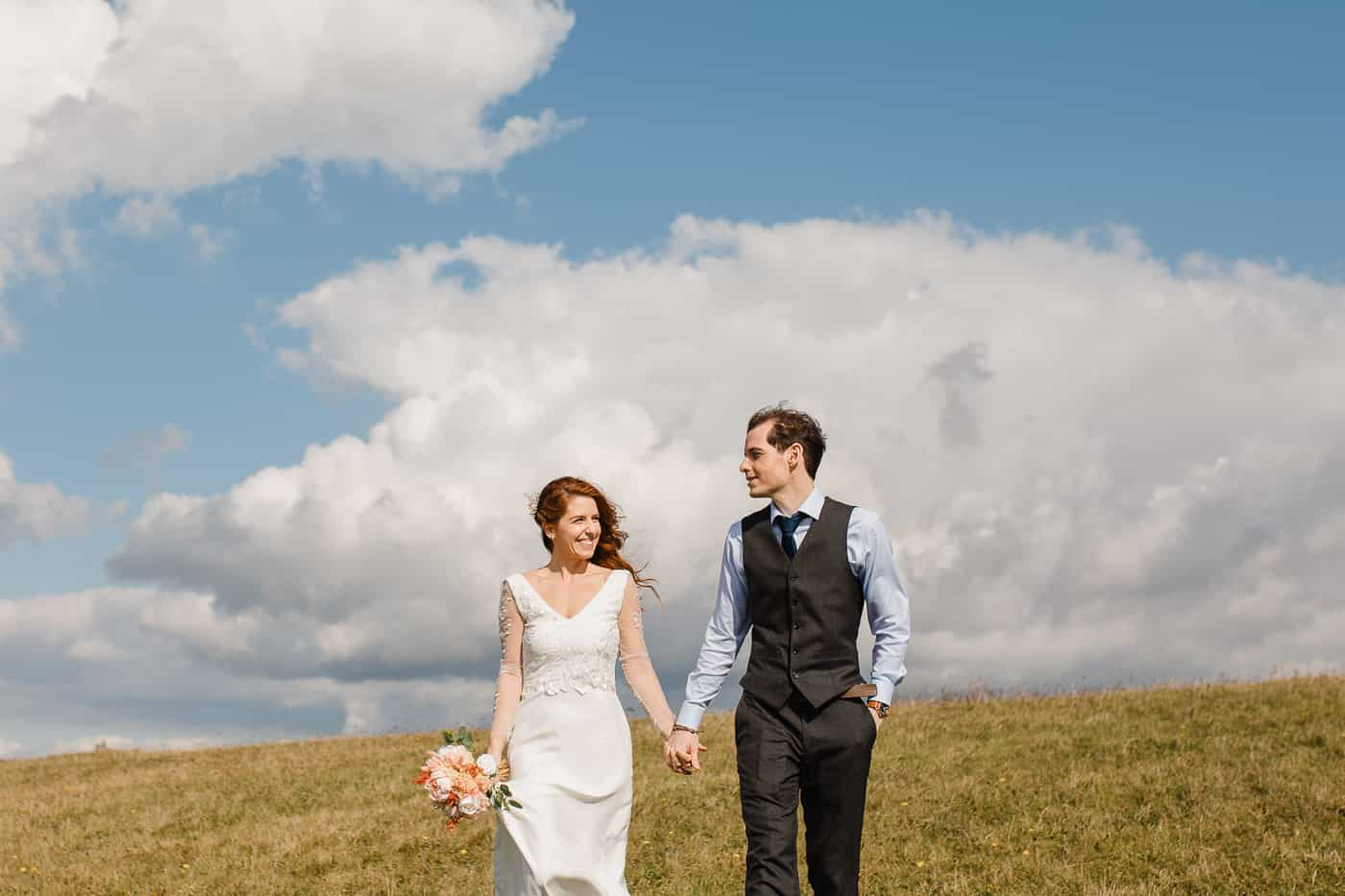 UK elopement couple walking