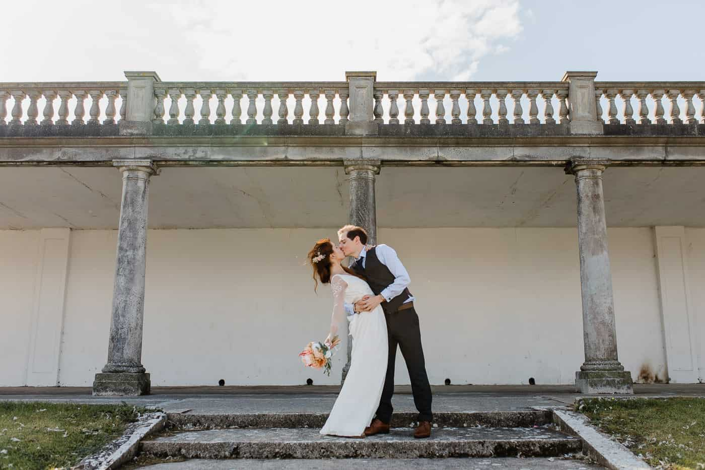 UK elopement kiss