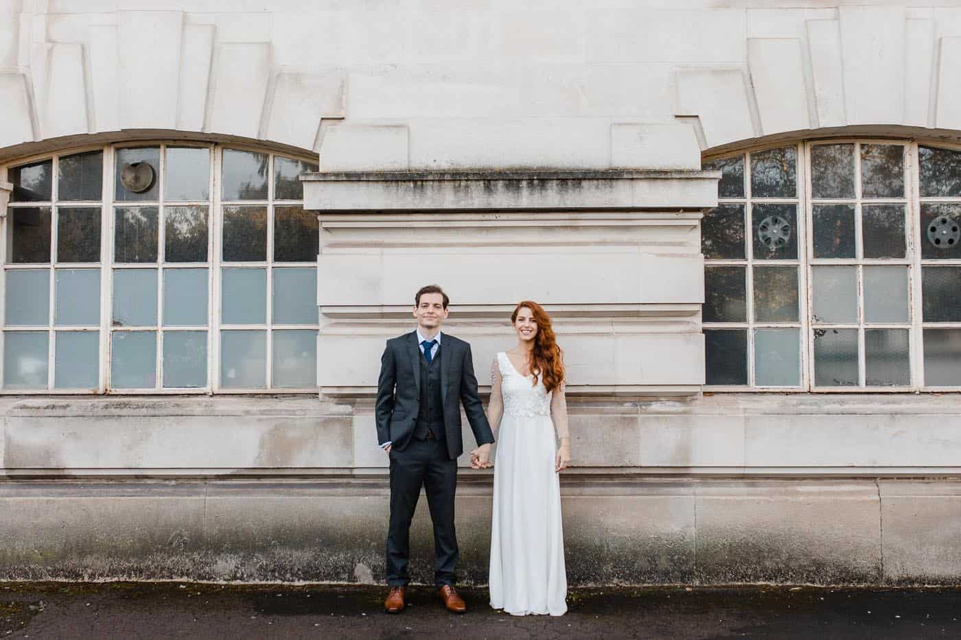 couple in front of building